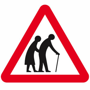 Frail pedestrians likely to cross road sign