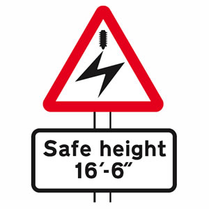 Overhead electric cable sign