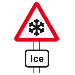 Risk of ice road sign