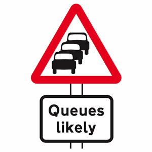 Traffic queues likely sign
